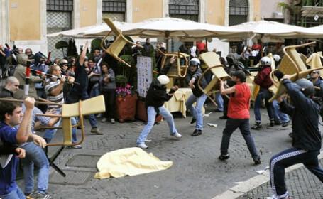 Proteste violente ale studentilor din Roma