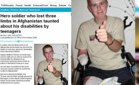 Soldat batjocorit dupa ce si-a pierdut picioarele si un brat in Afganistan!