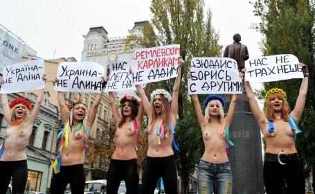 Protest in pielea goala in centrul Kievului impotriva lui Putin