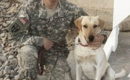 soldat si cainele cazuti in Irak