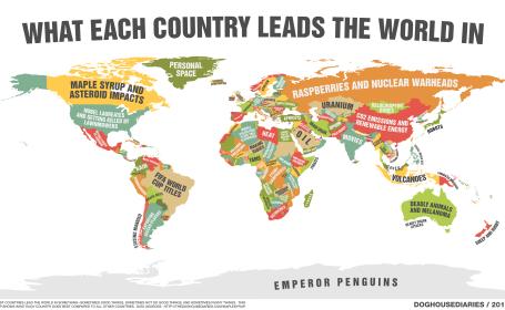 Harta lumii dupa domeniul in care fiecare tara e pe primul loc. Ce scrie in dreptul Romaniei