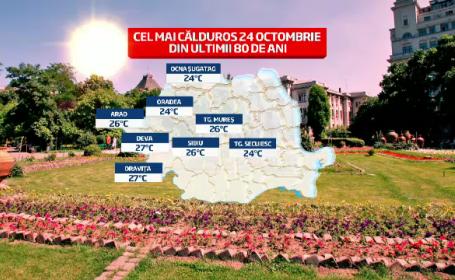 Harta celor mai mari temperaturi din octombrie in ultimii 80 ani in Romania. Prognoza pentru weekend