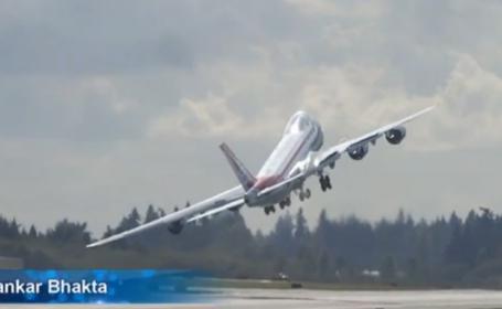 """Manevra periculoasa chiar la decolare. Pilotul unul Boeing 747-8 si-a luat """"Ramas bun"""". VIDEO"""