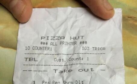 Angajatii unui restaurant Pizza Hut din Singapore, nevoiti sa-si ceara scuze. Ce au scris pe nota de plata a unei femei