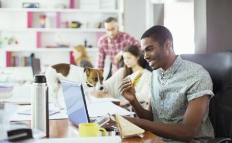 Riscurile la care sunt expuse persoanele care mananca la birou. Una din patru nu respecta regulile de igiena