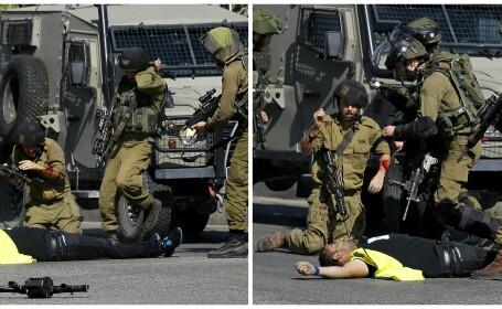 Momentul tulburator in care un palestinian, deghizat in jurnalist, e impuscat mortal dupa ce a injunghiat un soldat israelian