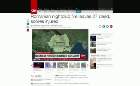 Incendiul din Colectiv, pe prima pagina a presei internationale. CBS a deschis jurnalul de dimineata cu tragedia din Romania