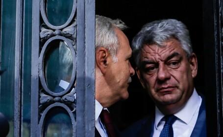 Președintele PSD Liviu Dragnea și prim-ministrul Mihai Tudose susțin declarații de presă după ce au avut o întâlnire la sediului partidului