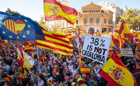 protest la Barcelona pentru unitatea Spaniei