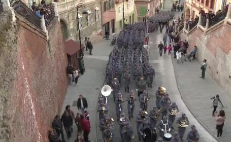 Soldaţi din Primul Război Mondial, în Sibiu. \