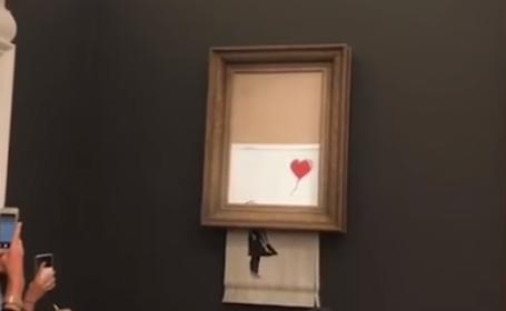 Decizia luată de femeia care a cumpărat tabloul lui Banksy, care s-a autodistrus