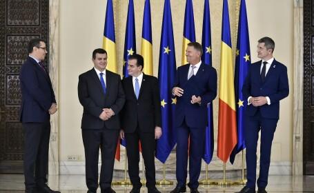 Presedintii PMP, Eugen Tomac, PRO Romania, Victor Ponta, USR, Dan Barna, si PNL, Ludovic Orban, participa la ceremonia publica de semnare a Acordului Politic National pentru consolidarea parcursului european al Romaniei, desfasurata la Palatul Cotroceni,