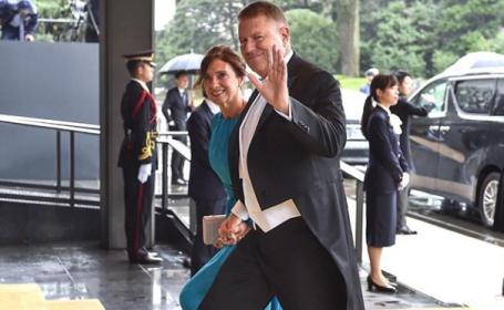 Iohannis şi soţia sa, la ceremonia de întronare a împăratului Japoniei