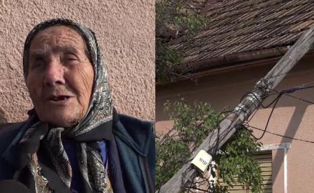 O femeie din Arad stă de aproape o săptămână cu un stâlp de telefonie căzut pe casă