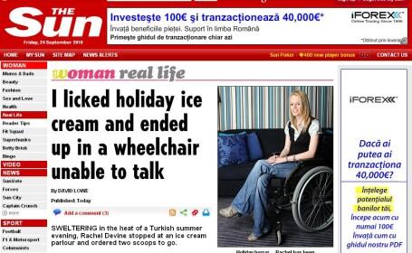 A ajuns in scaunul cu rotile dupa ce a luat o gura de inghetata!