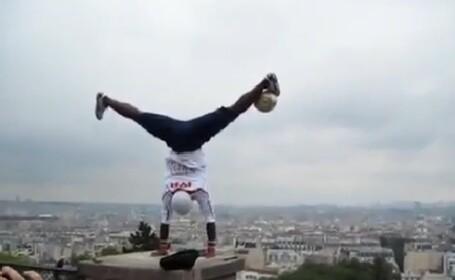 Isi risca viata intr-un VIDEO spectaculos. Omul care le da clasa celor mai buni fotbalisti ai lumii