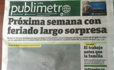 Gafa de necrezut a unui ziar din Peru. Au tiparit prima pagina, dar au uitat sa adauge si pozele