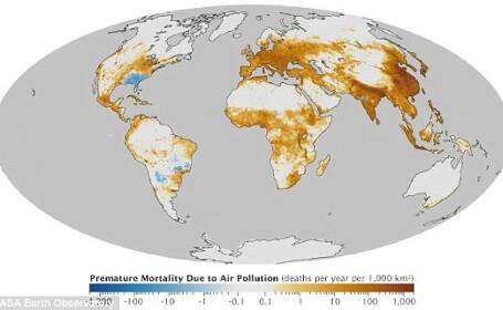 NASA a publicat harta globala a poluarii. Europa de Est si Asia, printre cele mai afectate zone