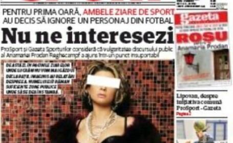 Sotia lui Laurentiu Reghecampf a fost interzisa in ProSport si Gazeta Sporturilor.\
