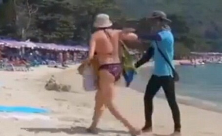 Scandal pe o plaja din Thailanda. De ce a fost imbrancita si gonita o turista din Rusia