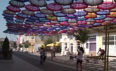 umbrelute in centrul orasului Botosani