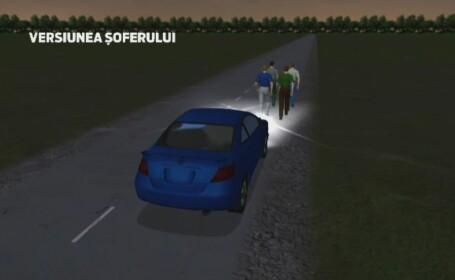 ANIMATIE GRAFICA. Momentul in care patru muncitori sunt loviti in plin de o masina. Doi au murit, unul de afla in stare grava
