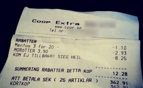 O femeie din Suedia a descoperit un slogan nazist pe chitanta primita de la un supermarket