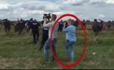 Jurnalista din Ungaria care loveste imigranti