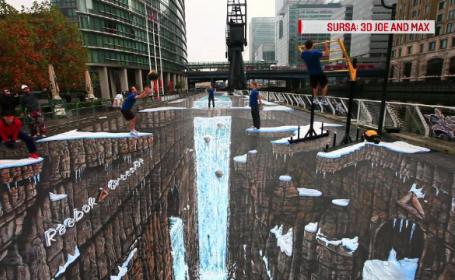 Cascade care se preling pe trotuar si broaste testoase ce ies din asfalt. Desen record in Romania pentru artistul Joe Hill