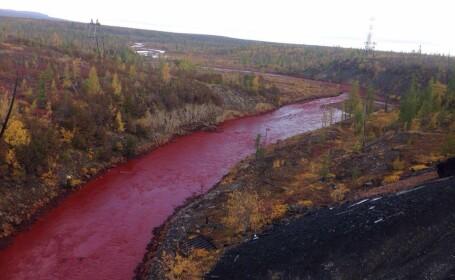 Un rau din Rusia a capatat peste noapte culoarea SANGELUI. Explicatia oficiala pe care nu o crede nimeni