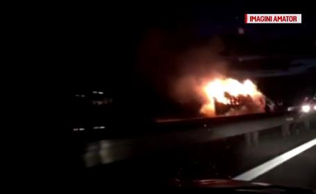 Un TIR încărcat a luat foc în timpul mersului, pe autostradă, lângă Capitală