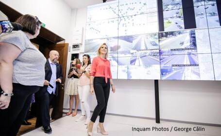 Primarul general al Capitalei, Gabriela Firea, participă la inaugurarea noului Centru de Management al Traficului, la sediul primăriei din București