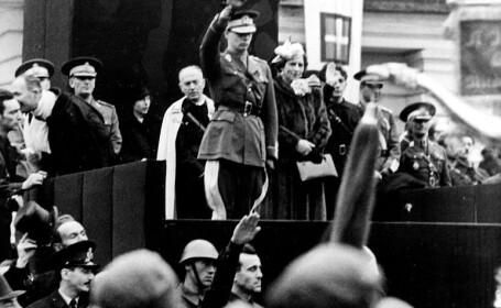 Regele Mihai la o adunare legionara in Iasi, 1940