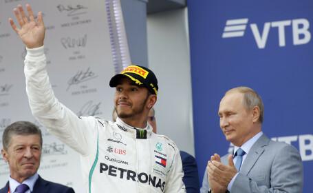 Vladimir Putin, încântat de întâlnirea cu Lewis Hamilton, câștigător al Marelui Premiu al Rusiei