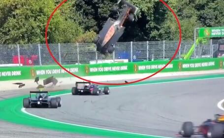"""Moment șocant la o cursă de Formula 3. O mașină, """"catapultată"""" la câțiva metri în aer. VIDEO"""