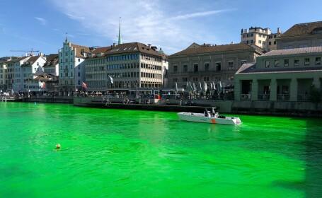 Motivul pentru care un râu din Elveția a fost colorat în verde fosforescent. VIDEO
