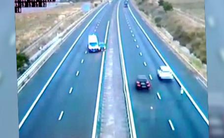 Accident pe A1 filmat de camerele de supraveghere