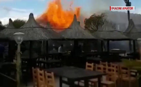 incendiu, pagube, pompieri, restaurant, malul marii
