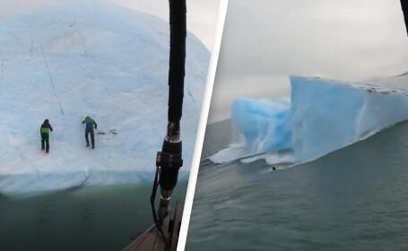 VIDEO. Un aisberg s-a răsturnat în mare cu doi exploratori care încercau să îl escaladeze