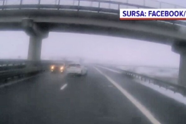 Șofer pe contrasens, pe autostrada dintre Gilău și Turda. Circula și cu viteză, pe banda a doua