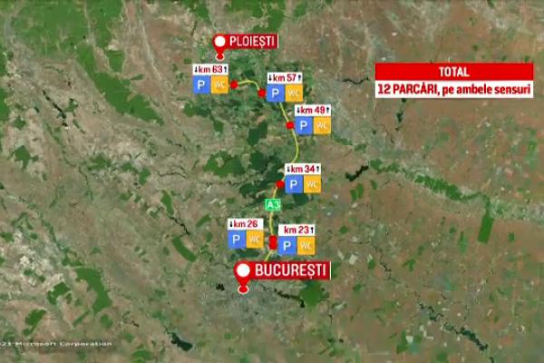 """Autostrada București - Ploiești are doar două parcări amenajate, dintre cele 12 prevăzute. """"E mizerie, e miros, e urât"""""""