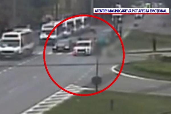 VIDEO. Momentul în care un pieton care trece pe roșu este lovit de o mașină, la Timișoara