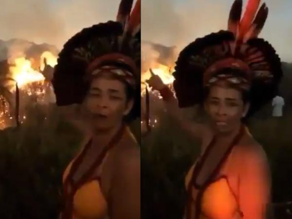 """Reacția unei indige, când vede Pădurea Amazoniană în flăcări. """"Ne ucid resursele de viață"""""""