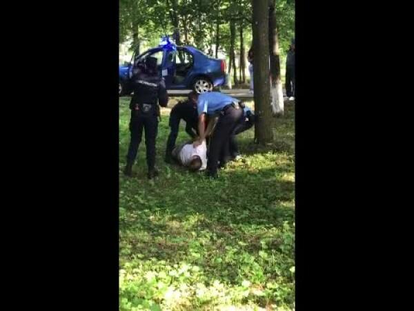 suspect pedofilie jandarmi spray lacrimogen