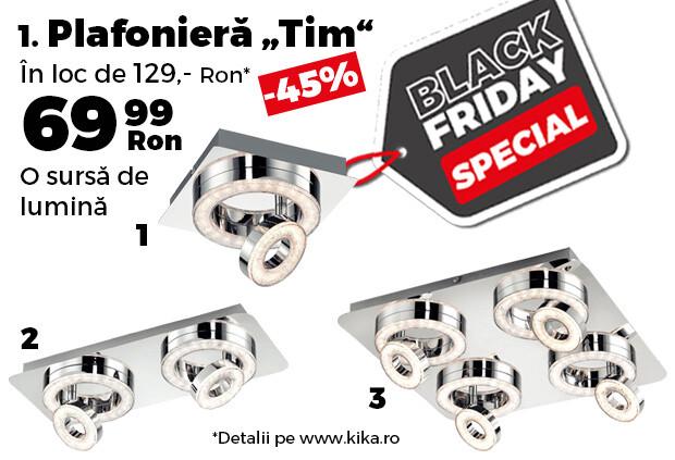 """Reduceri kika Black Friday. Gama de plafoniere """"Tim"""", cu LED, cu reducere de 45%"""