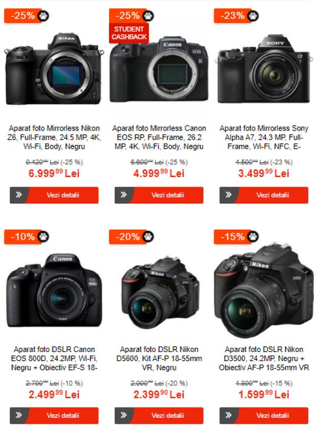 Reduceri de până la 50% la aparate foto și accesorii, de Black Friday la eMAG