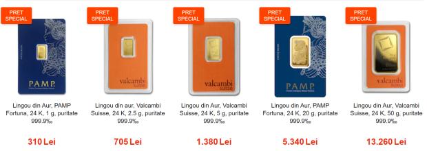 Prețuri speciale la lingouri de aur