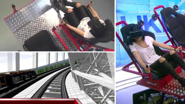Corina Caragea pe simulatorul de rollercoaster