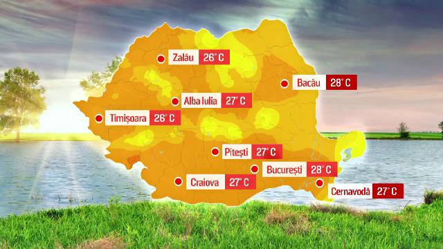 HARTA portocalie a Romaniei intr-o zi de inceput de aprilie. Unde s-au inregistrat temperaturi si de 33 de grade