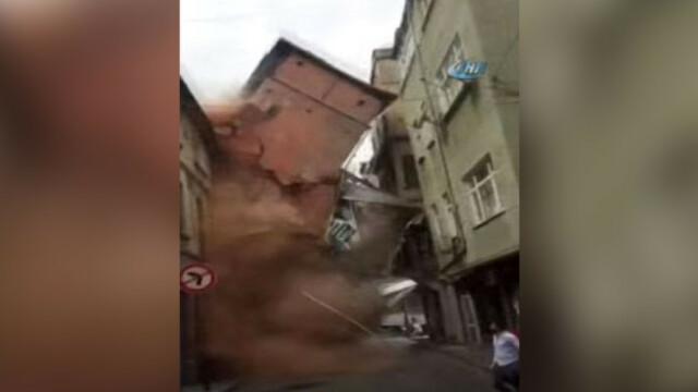 Momentul in care o cladire de 5 etaje s-a prabusit chiar in centrul Istanbulului. Ce au facut oamenii care se aflau in zona